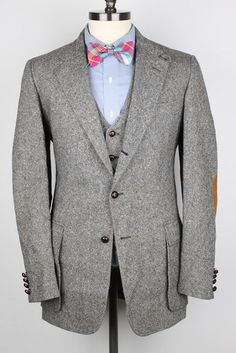 TWEED 3 PC Cricketeer Grey DONEGAL Flecked Wool 38 L mens Suit Pants Vest #Cricketeer #ThreeButton