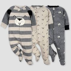 Gerber Baby Boys' Bear Sleep N' Play Pajamas - Gray/Light Brown Newborn : Target Baby Boy Pajamas, Carters Baby Boys, Girls Pajamas, Toddler Boys, Toddler Pajamas, Newborn Boy Clothes, Newborn Outfits, Cute Baby Clothes, Baby Boy Newborn