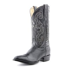 Circle G Black Lizard Cowboy Boots