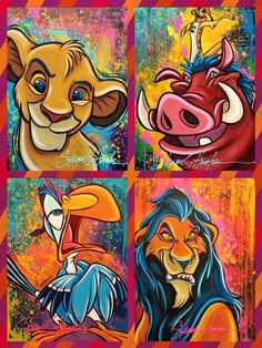 Tattoo Disney Characters The Lion King Disney Paintings, Disney Artwork, Disney Drawings, Disney Pop Art, Disney Canvas Art, Simba Disney, Disney Lion King, Disney Disney, Lion King Drawings