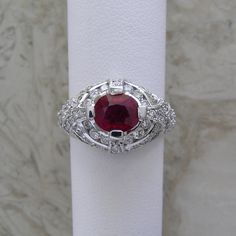 Ruby Diamond Engagement Ring One Of A Kind Beautifully Made Circa 1990