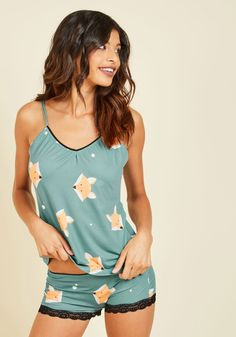 Sly of the Beholder Pajamas. The ideal loungewear look differs per person, but we think everyone can agree on these fox-printed pajamas being an optimal choice for bedtime and beyond! Sleepwear Women, Pajamas Women, Lingerie Sleepwear, Cute Pajama Sets, Cute Pajamas, Pyjamas, Pjs, Beautiful Outfits, Cute Outfits