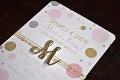 Sparkle and shine pink, gold and silver dots with glitter monogram initial or number birthday invitation, with envelopes via Etsy