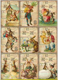 Bügelbilder Vintage Ostern Osterhase Eier Küken Antik auf A4 NO. 1087 Vintage | eBay