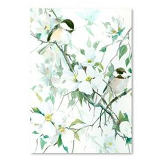 """East Urban Home Chickadees and Dogwood Painting Print Size: 16"""" H x 12"""" W"""
