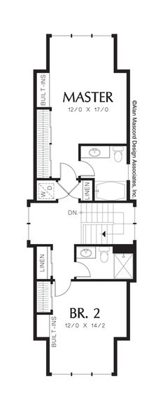 Upper Floor Plan of Mascord Plan 21109 - The Blairstown - Open Plan for Very Narrow Lot