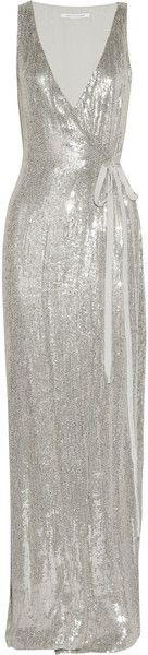 DIANE VON FURSTENBERG Yazhi Sequined Silk Chiffon Gown dressmesweetiedarling
