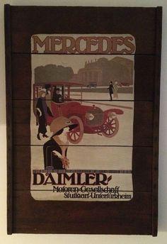 Rare VTG Original Raisinrak Decoupage Mercedes Daimler Wooden Wall Hanging Sign #Mercedes