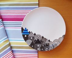Blue city plate by ZuppaAtelier on Etsy, $48.00