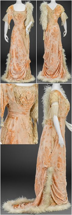 Evening dress, made by G. Giuseffi Ladies' Tailoring Company, American, 1910-14. Silk chiffon, silk velvet, silk net, lace, pearls, crystal and mother-of-pearl beads, sequins. Images courtesy of the Indianapolis Museum of Art.