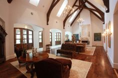 two story great room   NOW THIS IS A FAMILY ROOM! 42 x 19 w/vaulted & beamed 2-story ceiling ...