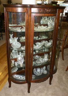 Antique China Cabinets | Walnut triple bow front antique china cabinet