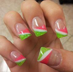 Get nails, love nails, how to do nails, gel nail art designs, fingernail . Gorgeous Nails, Love Nails, Pretty Nails, Gel Nail Art Designs, Cute Nail Designs, French Nails, Nagel Hacks, Watermelon Nails, Manicure E Pedicure