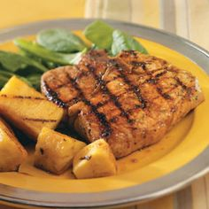 Teriyaki Pineapple & Pork Chops Recipe -Pork chops are wonderful on the grill. Adding the pineapple and teriyaki makes it even better! It reminds me of Hawaii!—Alaina Showalter, Clover, South Carolina