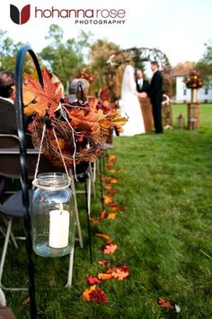 Classic Romantic Rustic Brown Gold Orange Aisle Markers Aisle Runner Altar/Arch Arrangements Fall Outdoor Ceremony Wedding Ceremony Photos & Pictures - WeddingWire.com