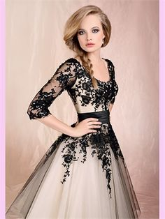 Ivory A Line Black Lace With Sleeves  Wedding Dress