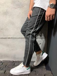 Ankle Pants Front and Side Stripes - Black - Pants - mens streetwear Ankle Pants, Trouser Pants, Men Pants, Men Street, Street Wear, Fashion Pants, Mens Fashion, Modern Fashion, Fashion Styles