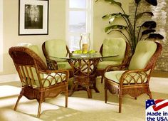 Eastwind Rattan and Wicker Swivel Tilt Caster Dining Set by Classic Rattan