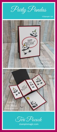 Party Pandas by Stampin Up. Created by UK Independent Demonstrator Teri Pocock. Click through for more details.#teripocock #stampinup #stampinupuk #partypandas #happybirthdaygorgeous