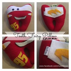 Tooth Fairy Pillow McQueen Cars. Hada de los dientes el Rayo Mcqueen. Visita www.facebook.com/mybellezze Tooth Pillow, Felt Pillow, Tooth Fairy Pillow, Tooth Template, Sewing Crafts, Sewing Projects, Diy Projects, Dental Kids, Diy Pillows