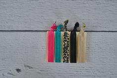 Cheetah Set of Five No Snag Hair Ties for Women
