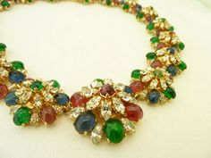 Vintage Signed Christian Dior Germany Gripoix Glass Necklace | From a unique collection of vintage beaded necklaces at http://www.1stdibs.com/jewelry/necklaces/beaded-necklaces/