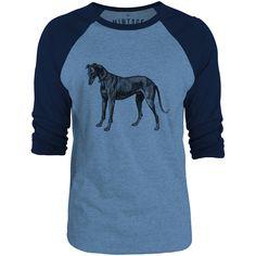 Mintage Greyhound Etching 3/4-Sleeve Raglan Baseball T-Shirt (Cobalt Marle / Navy)