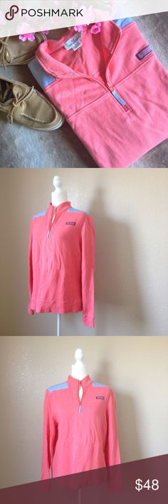 "Vineyard Vines Pullover Shep Shirt Super cute Vineyard Vines woman's shep shirt, 100% cotton, in coral red and sky blue. Features quarter zip, signature chest label and embroidered whale neckline. Good used condition, has some wear as pictured, light pilling, two pin holes on the neckline, a teeny tiny dark spot on the back of the right sleeve and most notably a discolored spot on the right sleeve. Size L, approximate measurements when laid flat are 21.5"" bust, 27.75"" long, 26.5"" sleeve…"