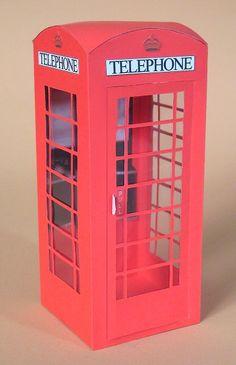 Card Craft / Card Making Templates - Telephone Box