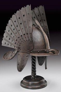 A helmet,Poland, century. I think this helmet is turning Japanese, I really think so. Samurai Helmet, Warrior Helmet, Helmet Armor, Arm Armor, Body Armor, Armadura Medieval, Ancient Armor, Medieval Weapons, Knight Armor