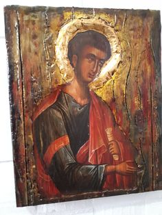 Saint Thomas the Apostle Icon Rare Byzantine Greek Orthodox Antique Style Icons Thomas The Apostle, St Thomas, Item International, Bee Wax, Gold Labels, Style Icons, I Icon, Great Love, Saints