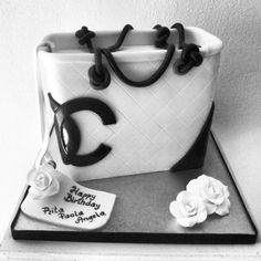 Chanel Bag Cake with camellia flowers