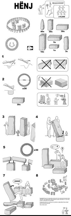 Building instructions for Stonehenge - by IKEA. If you've ever assembled, you'll appreciate.