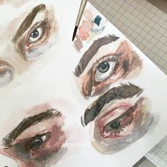 Instagram @apolstrof eyes study watercolour art painting drawing realistic gallery Artist