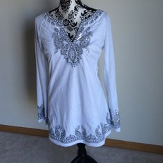 INC white with silver sequin tunic/swim cover.Sz L Like New!!INC Intermational Concepts white with silver sequin tunic/ swim coverup. Sz L. INC International Concepts Swim Coverups