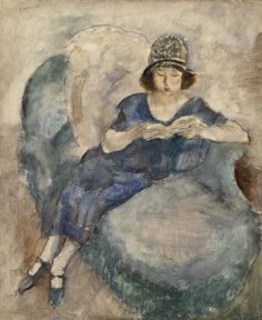 Jules Pascin American and Bulgarian, active in France, 1885–1930 Girl in Blue Dress on Sofa, Reading (Jeune fille à la robe bleue lisant sur un divan)  c. 1922 Oil on fiberboard (later mounted to plywood panel) 25 5/8 x 21 3/4 in. (65.1 x 55.2 cm) BF186 Image © 2013 The Barnes Foundation