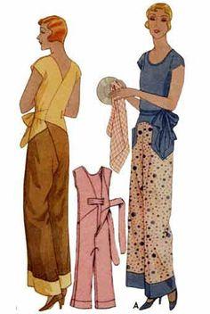 1930 Kitchenette Pajamas Pattern: 1-piece lounging pyjamas for a soft fabric.