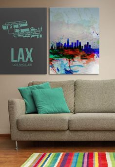 Combining two great viewpoints of Los Angeles with an airport map canvas, and a watercolor inspired skyline print by Naxart Studios, these canvas art prints are great for adding a modern twist to your room. Available for purchase at GreatBIGCanvas.com.