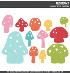 Mushrooms Digital Clipart Clip Art Illustrations  by MissTiina, $5.00