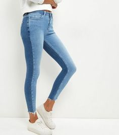Pale Blue Two Tone Fray Hem Skinny Jeans