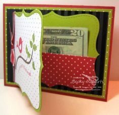 easy money card with Stampin' Up top note die (design on front is nice for a birthday card as opposed to a Christmas money card)