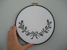 bough with a bow xstitch wall piece by ChezSucreChez on Etsy