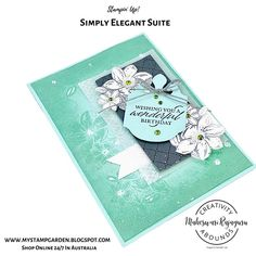 My today's card for the Creativity Abounds Design Team Blog Hop, a group of Stampin' Up! ® Demonstrators from all around the world come together to share our creative ideas with you. I am pleased to join this amazing Design Team. For the Blog Hop and for the Tutorial month, we are highlighting the Stampin' Up! Simply Elegant Suite. Stampin Up, Elegant, Birthday, Creative, Blog, Cards, Paper, Projects, Design