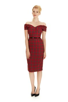 Fatale Red Tartan Pencil Dress - view 4