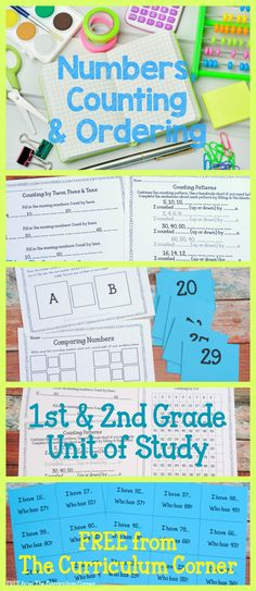 FREEBIE! Numbers, Counting & Ordering Math Unit of Study for 1st & 2nd Grades FREE from The Curriculum Corner A HUGE collection of free resources!