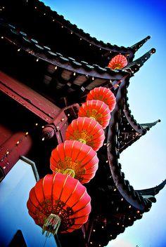 Pagoda and lanterns