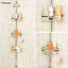 Tension Pole Corner Shower Caddy tension pole shower corner caddy in teak/oil rubbed bronze