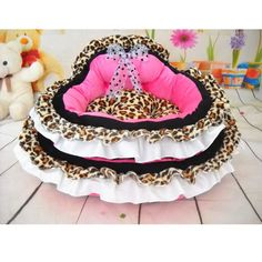 Pink Leopard Prince Princess Cute Lace Soft Bow Pet Beds Dog Puppy Cat Bed in Pet Supplies, Dog Supplies, Beds | eBay