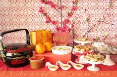 cookie station - oriental theme Chinese New Year Cookies, New Years Cookies, Chinese Theme, Cookie Table, Hospitality, Oriental, Table Decorations, Home Decor, Decoration Home
