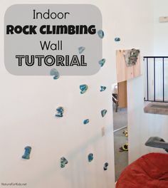 Indoor rock climbing wall tutorial DIY ***AND an awesome video of a family doing strength and endurance exercises on their home set up (not the one pictured), as well as a video of a regimen for the hangboard Home Climbing Wall, Kids Climbing, Indoor Climbing, Rock Climbing, Indoor Gym, Kids Gym, Playroom Furniture, Indoor Playground, Workout Rooms